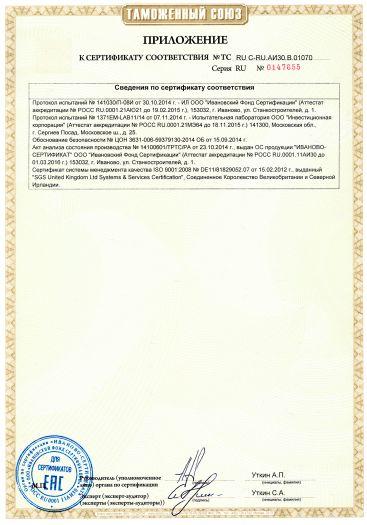 Скачать приложение к сертификату на насосы центробежные одноступенчатые с односторонним всасыванием, типы NB, NBE, комплектующие и запасные части к ним