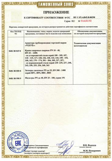 Скачать приложение к сертификату на арматура трубопроводная торговой марки «VEXVE»