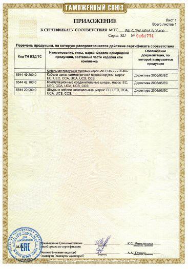 Скачать приложение к сертификату на кабельная продукция торговых марок «NETLAN» и «ULAN»