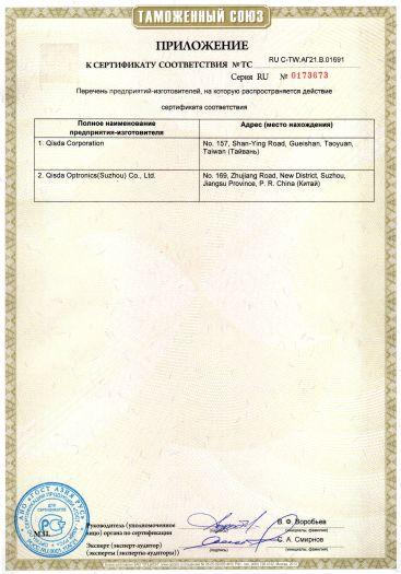 Скачать приложение к сертификату на цифровые проекторы BenQ