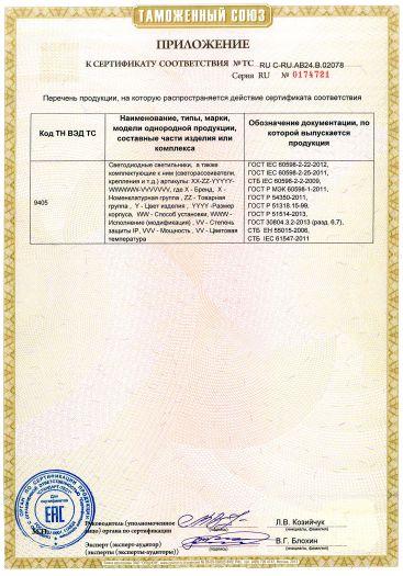 Скачать приложение к сертификату на светодиодные светильники, в том числе для аварийного освещения, торговой марки VARTON, Gauss, Серии: Офис, ЖКХ, Маркет, Лайн, Айрон, IP65 (Стронг), Улица