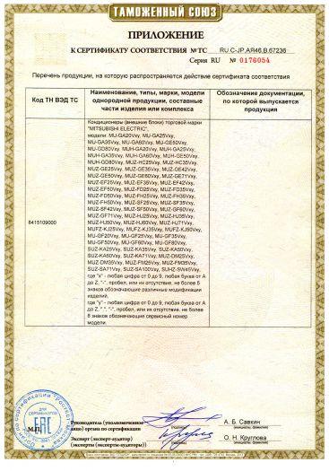 Скачать приложение к сертификату на кондиционеры (внешние блоки) торговой марки «MITSUBISHI ELECTRIC»