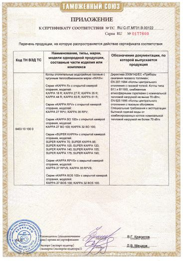 Скачать приложение к сертификату на котлы отопительные водогрейные газовые с чугунным теплообменником марки «BIASI», серий: «КАРРА R», «КАРРА RPV», «КАРРА RPVS», «КАРРА ВО 100», «КАРРА BOS 100», «SUPER КАРРА»