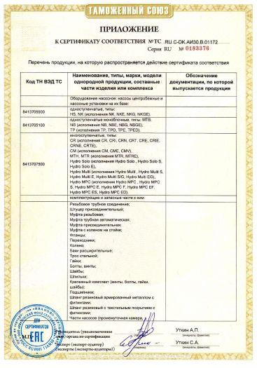 Скачать приложение к сертификату на оборудование насосное: насосы центробежные и насосные установки на их базе, типы, комплектующие и запасные части к ним