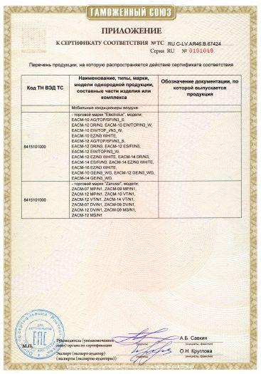 Скачать приложение к сертификату на мобильные кондиционеры воздуха, торговых марок «Electrolux», «Zanussi»