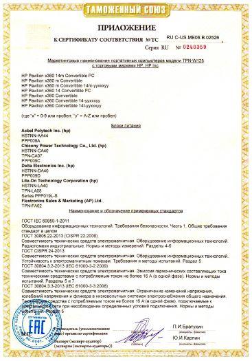 Скачать приложение к сертификату на портативные компьютеры (Notebook Computer) модели TPN-W125 с торговыми марками HP, HP Inc.