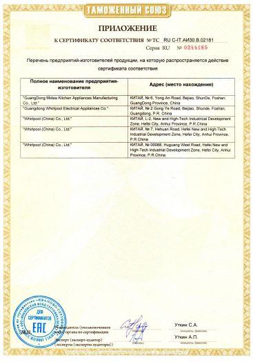 Скачать приложение к сертификату на бытовые электрические микроволновые (СВЧ) печи торговых марок «Hotpoint-Ariston», «Hotpoint», «Indesit»