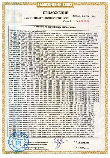 Скачать приложение к сертификату на автоматические выключатели, торговой марки «EKF»