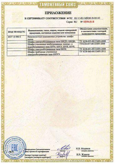 Скачать приложение к сертификату на низковольтные комплектные устройства: шкафы