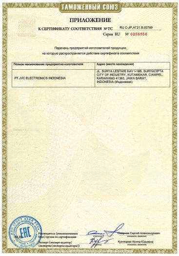 Скачать приложение к сертификату на цифровые мультимедийные ресиверы автомобильные JVC модели KW-X830BT, KW-X730