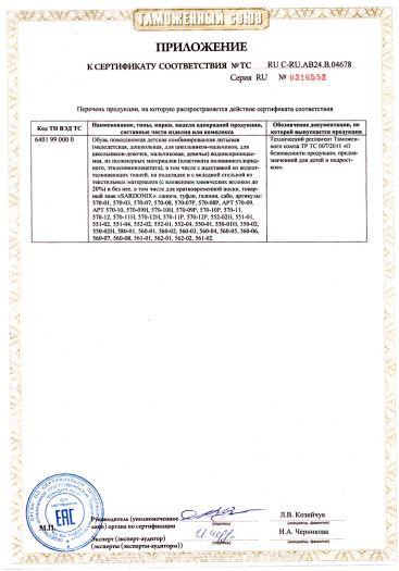Скачать приложение к сертификату на обувь повседневная детская комбинированная литьевая водонепроницаемая, из полимерных материалов, товарный знак «SARDONIX»: сапоги, туфли, галоши, сабо