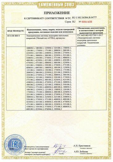 Скачать приложение к сертификату на электрические системы подогрева напольных покрытий (Тёплый пол «СТН»)