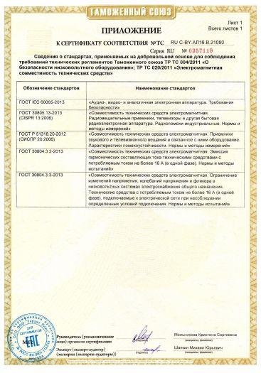 Скачать приложение к сертификату на телевизоры цветного изображения, серия: LCD, модели: Daewoo Electronics