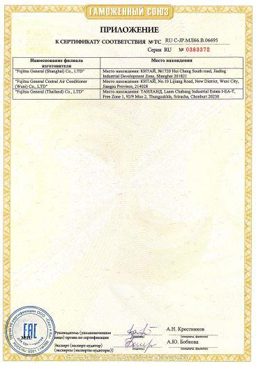 Скачать приложение к сертификату на оборудование для кондиционирования воздуха, торговой марки Fujitsu