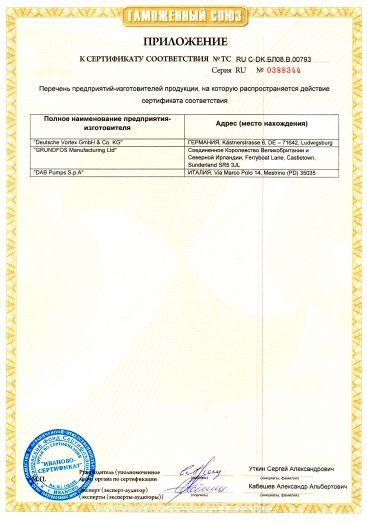 Скачать приложение к сертификату на электрические циркуляционные насосы, тип: Comfort, и насосные группы на базе электрических циркуляционных насосов, тип: HEATMIX, комплектующие и запасные части к ним
