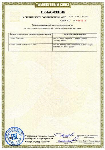 Скачать приложение к сертификату на DLP-проекторы JVC модели LX-UH1