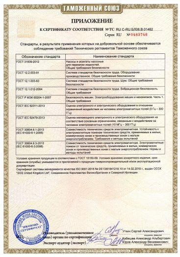 Скачать приложение к сертификату на гидромодули тип «HYDRO NOC», с комплектующими и запасными частями к ним