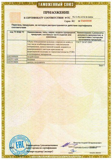 Скачать приложение к сертификату на обувь повседневная мужская с верхом из кожи, искусственной кожи: полуботинки, ботинки, полусапоги, сапоги