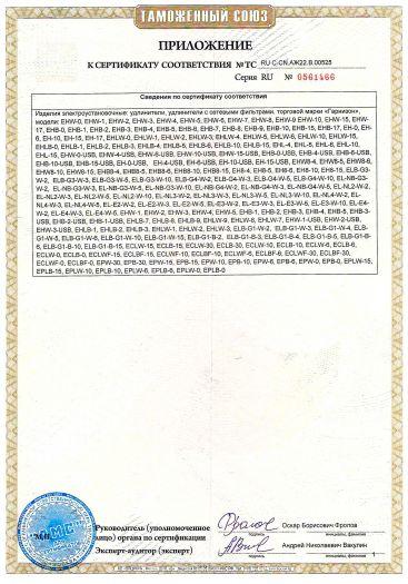 Скачать приложение к сертификату на изделия электроустановочные: удлинители, удлинители с сетевыми фильтрами, торговой марки «Гарнизон»