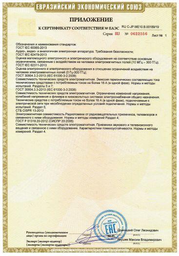 Скачать приложение к сертификату на интегрированный усилитель торговой марки YAMAHA, модели A-S301, A-S501, A-S701, A-S801